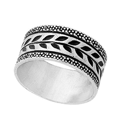 81stgeneration Women's .999 Fine Silver Karen Hill Tribe Intricate Engraved Leaf Print Tribal - Silver Hill Tribe Tribal Karen