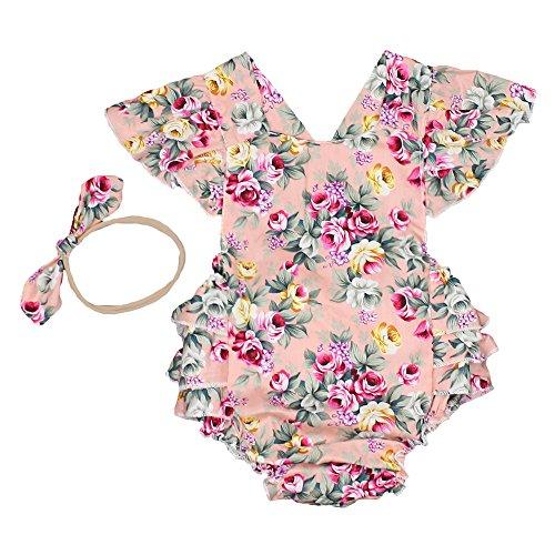 Luckikikids Baby Girls Cotton Vintage Floral Ruffle