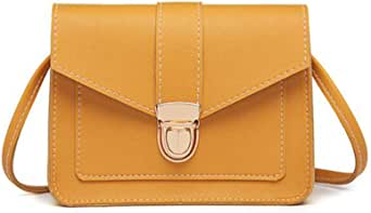 Fashion Small Crossbody Bags for Women Mini PU Leather Shoulder Messenger Bag for Girl Yellow Ladies Phone Purse