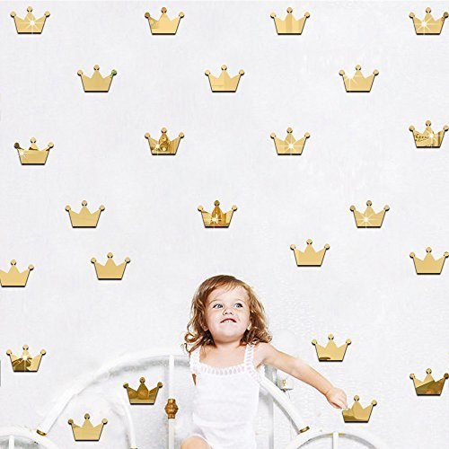 Ufengke 15-Pcs 3D Gold Princess Crown Mirror Effect Wall Decals,Children's Room Nursery Removable Wall Stickers Murals (Princess Mirror Wall Decals)