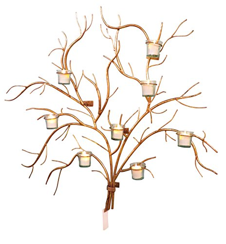 Large 37'' Gold Branch Wall Candle Holder | Tree Votive Candleabra by My Swanky Home