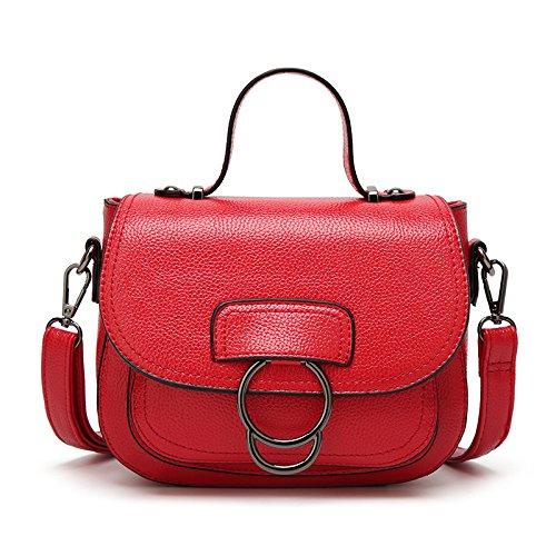 XZW NB Borsa A Tracolla Da Donna Casual Borsa A Mano Vintage Small Square Bags Red