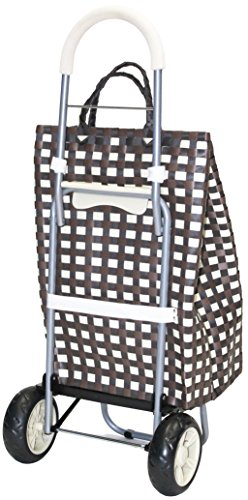dbest products Trolley Dolly Basket Weave Tote, Brown Shopping Grocery Foldable Cart Picnic Beach