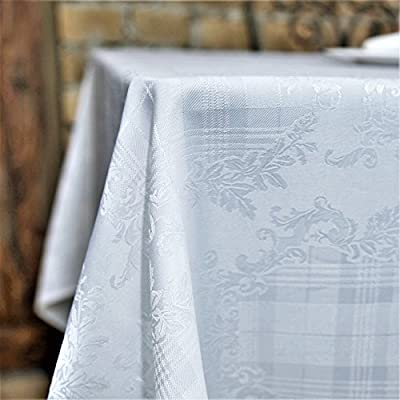 """AHOLTA DESIGN Stain Resistant White Rectangle Tablecloth Polyester Damask Table Cover Square Round Non Iron - Thanksgiving Christmas New Year Eve Gift (White Damask, Rectangle 60""""x104"""") - UNIQUE AND ELEGANT DESIGN:These beautiful tablecloths and table runners come in elegant white so that they will suit any space and style. The table linens have a unique combination of floral and geometric patterns that are incredibly chic and discreet so that they can be perfect for everyone! IDEAL FOR EVERY OCCASION:The tablecloth will be an amazing addition to every event decoration and every family dinner. Use these amazing table linens for weddings, Thanksgiving, X-mas, New Year Eve, parties or holiday dinners. The white tablecloth will look amazing on your Christmas or Thanksgiving dinner table! INCREDIBLY EASY TO CARE:Forget about the tablecloths that get stains all over and look like a mess! Thistablecloth is made with stain resistant fabric and it is incredibly easy to wash and takecare of. And no need to worry about ironing! These tablecloths will always look flawless without any ironing! - tablecloths, kitchen-dining-room-table-linens, kitchen-dining-room - 519rKqdx1%2BL. SS400  -"""