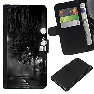 iBinBang / Flip Funda de Cuero Case Cover - Lamp Black White Photo Night - Sony Xperia Z4
