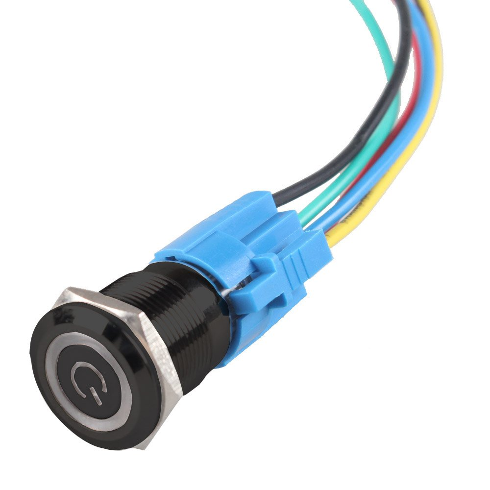 Etopars/™ Black Case 19mm 12V 5A Power Symbol Angel Eye Halo Car Red LED Light Metal Push Button Toggle Switch Socket