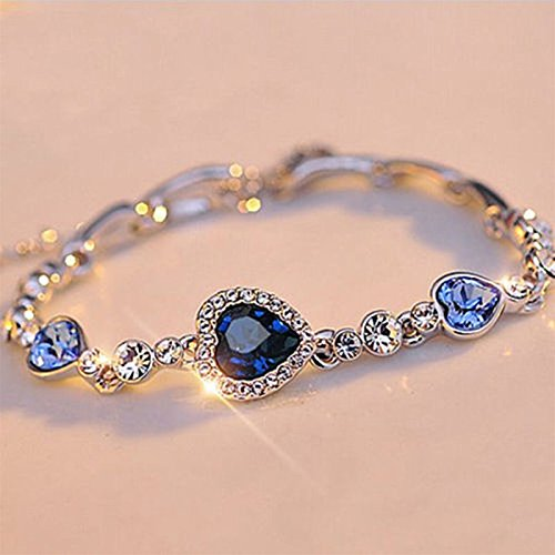 phitak shopCrystal Diamond Bracelet Fashion Bracelet Ocean Blue Heart Of The Sea Love