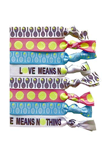 8 Piece Tennis Hair Elastic Set - Accessories for Players, Women, Girls, Coaches, Doubles Partners, High School Tennis Teams, Womens Leagues -MADE in the USA
