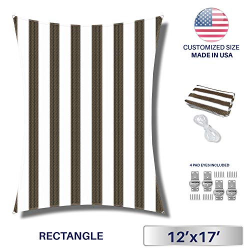 Sun Shade Sail Wide Brown White Stripes 12 x 17 Rectangle Patio Permeable Fabric UV Block Perfect for Outdoor Patio Backyard – Customize 4 Pad Eyes Included