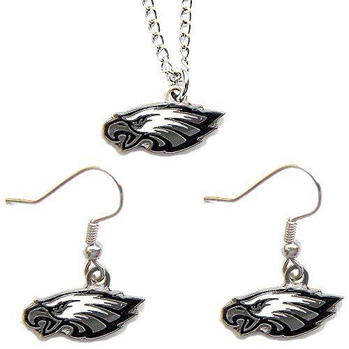 Philadelphia Eagles Necklace Dangle Earring Charm Set