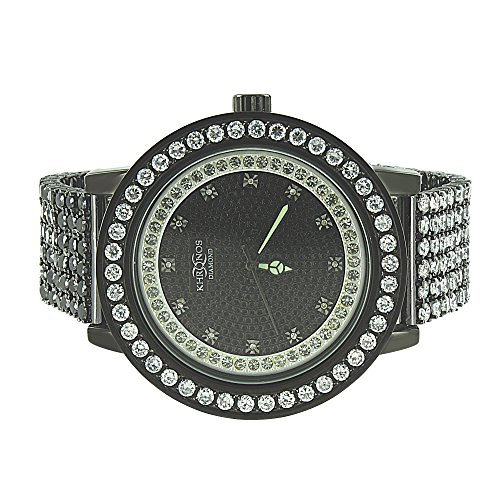 Full Iced Out Watch Rapper Hip Hop Khronos Genuine Diamond Dial Analog Custom Jojo Jojino Style by Master Of Bling