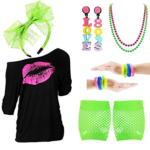 80s Outfits Accessories for Women - Pink Lips Print Off Shoulder T-Shirt,Lace Headband Necklace Bracelet Gloves for 80s Costumes,Green,XXL