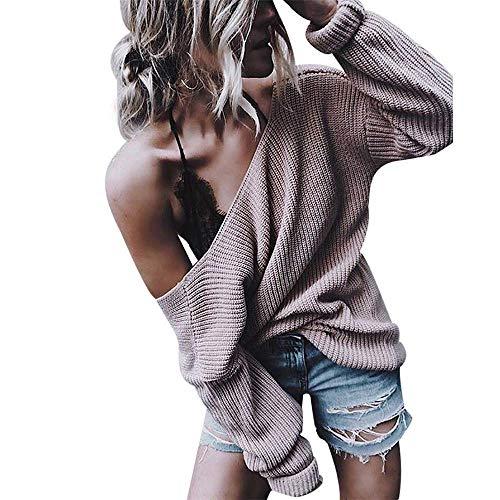 2 Maglie Maglietta Pullover Allentata Wrap Lanlern Felpa Sleeve Maglione V Da A Donna Colore Dimensione Donna Anteriore Rosa Blusa Scollo Xl Manica Winter Sweater Lunga Con TTrYg
