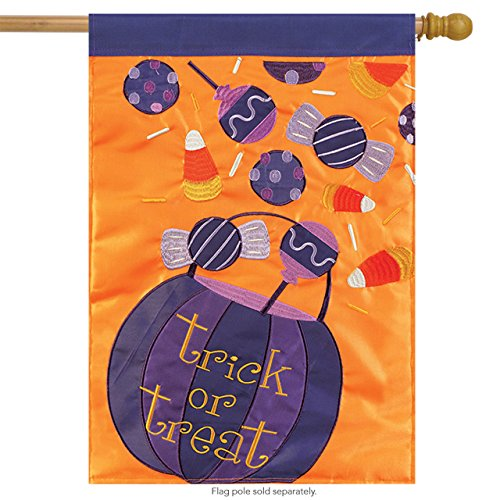 Carson Home Accents Halloween Candy Trends Double Applique Large Flag -