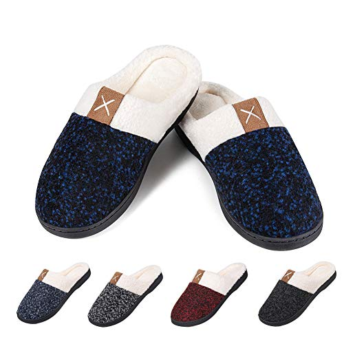 Womens House Shoes Warm Fleece Memory Foam Plush Lining Slip-on Anti-Slip Clog Cozy House Shoes Indoor & Outdoor(X-Navy,36/37)