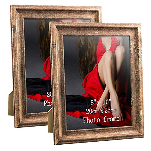 Artsay 8x10 Picture Frames Rustic Distressed Photo Frame 8 x 10 Set, Wall Hanging and Tabletop, Glass Front, 2 Pack, Brown ()