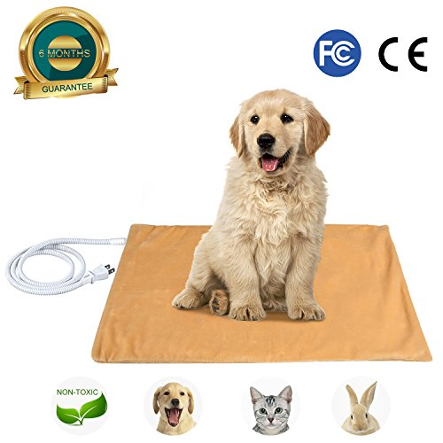 PEDY Pet Heating Pad - Electric Heating Pad for Dogs & Cats - Warming Dog Beds Pet Mat with Waterproof Soft Removable Cover - 20x24