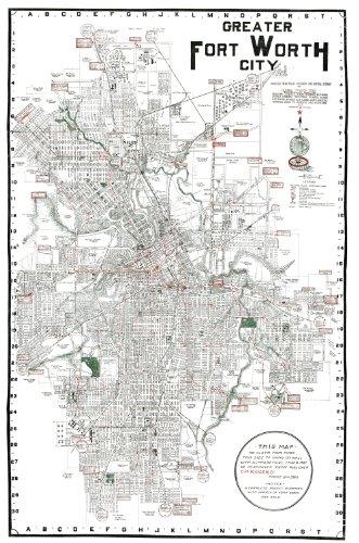 (1920 Fort Ft Worth TX City Street Map- Print 24)