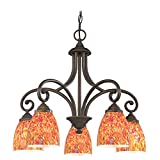 Chandelier with Multi-Color Glass in Bronze Finish Review