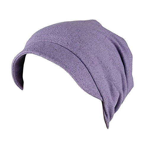 Womens Winter Hats Women Soild India Muslim Stretch Turban Hat Camouflage Hair Loss Head Scarf Wrap (Purple)