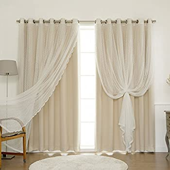 Match Wide Width Dotted Tulle Lace Solid Blackout Curtain Set Antique Bronze Grommet Top Beige 80 W X 84 L 1 And Sheer