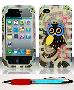 Accessory Factory(TM) Bundle (the item, 2in1 Stylus Point Pen) iPhone 4 4s (AT&T Verizon Sprint T-Mobile Cricket) PC SC Owl 3D Design Case Cover Protector - DP3D Exotic Flowers