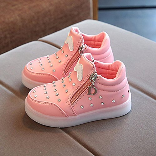 Baby Toddler Girls Led Light Tennis Shoes Sports Walking Shoes for 1-6 Years Old Kid Floral Crystal Casual Shoes