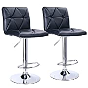 Leader Accessories Bar Stool,Black Modern Hydraulic Diagonal Line Adjustable Bar Stools with back,Set of 2