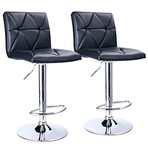 Chrome Stools - Leader Accessories Bar Stool,Black Modern Hydraulic Diagonal Line Adjustable Bar Stools with back,Set of 2
