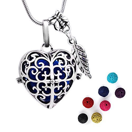 ALUCKY Heart Pendant Aromatherapy Essential Oil Diffuser Necklace For Women with 7 Multi-Colored Lava Stones and 24 Ajustable Stainless Steel Snake Chain, Gift for Valentines Day!