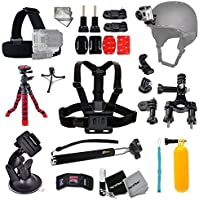 Xtech BIKE / BIKING and Motorcycle Riding Accessories Kit for GoPro Hero 4 3+ 3 2 1 Hero4 Hero3 Hero2, Hero 4 Silver, Hero 4 Black, Hero 3+ Hero3+ and for Bike riding, Cycling, Racing, Dirt Track Racing, Motorcycle Racing, Rallying, Uni-Cycling and other Similar Sports Activities Includes: BIKE MOUNT + Car Suction Cup Mount + Helmet Harness Mount + Chest Strap Mount + Head Strap Mount + Monopod Pole + Underwater Floating BOBBER Handle + MORE
