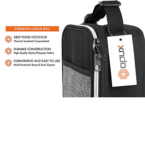 OPUX Premium Thermal Insulated Mini Lunch Bag | School Lunch Box For Boys, Girls, Kids, Adults | Soft Leakproof Liner | Compact Lunch Pail for Office (Heather Gray) by OPUX (Image #2)