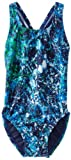 Speedo Big Girls'  Youth Splatter Splash Superpro Swimsuit, Blue/Green, 24/8