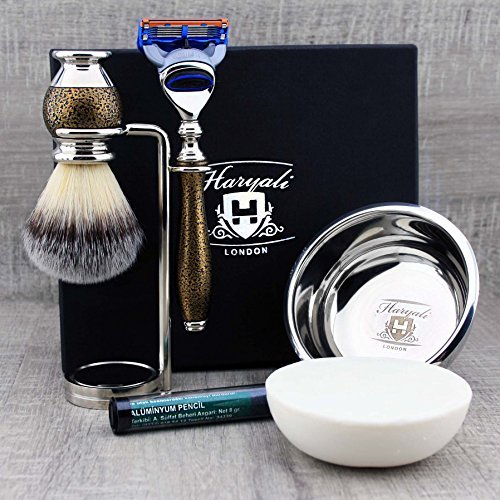 5 Pcs Classic Men's Shaving & Grooming Set Antique Style >Synthetic Brush, Gillette Fusion, Dual Stand, Bowl & Soap