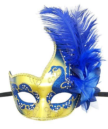 Flywife Feather Masquerade Mask Halloween Mardi Gras Cosplay Costumes Venetian Mask Party Mask (Royal -
