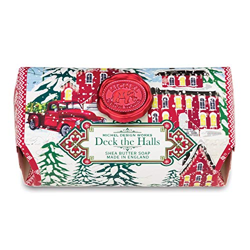 Michel Design Works Oversized Triple Milled Shea Butter Bath Soap Bar, Deck the Halls ()