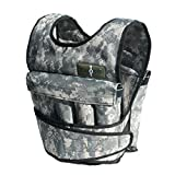 CROSS101 Adjustable Camouflage Weighted Vest without Shoulder Pads, 50 lb