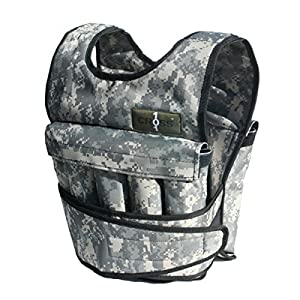 CROSS101 Adjustable Camouflage Weighted Vest (with Shoulder Pads, 80lbs)