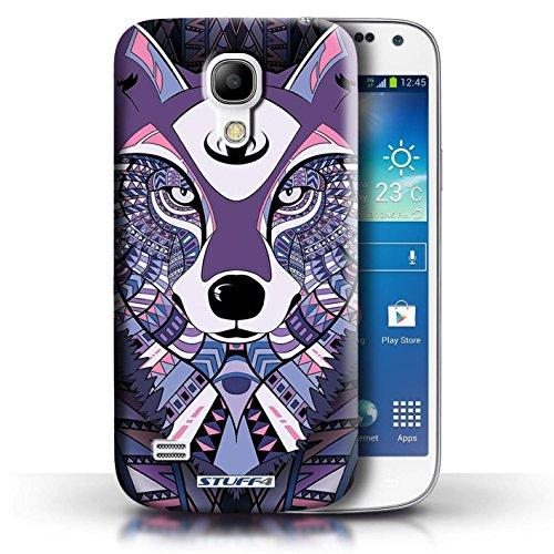 Etui / Coque pour Samsung Galaxy S4 Mini / Loup-Pourpre conception / Collection de Motif Animaux Aztec