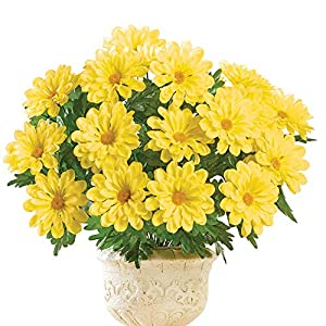 Faux Calendula Bushes - Set of 3, Arrangement for In Home or Outdoor Décor, Yellow 7