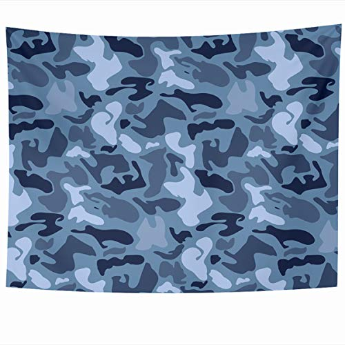 Ahawoso Tapestry Wall Hanging 80x60 Inches Khaki Pattern Abstract Military Blue Camouflage Uniform Army Camo Color Combat Dark Digital Home Decor Tapestries Art for Living Room Bedroom -