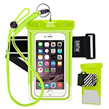 EOTW Waterproof Cell Phone Case Dry Bag Pouch Pocket With Armband Case For iPhone 6 6S Plus 5S SE Samsung Galaxy S4 S5 S6 S7 Edge Note 5 LG G3 G4 G5 HTC One Blu Lumia Moto For Diving Surfing - Green+ 2 Bands