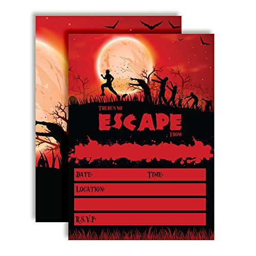 Zombie Attack Spooky Blood Red Moon Halloween Birthday Party Invitations, 20 5