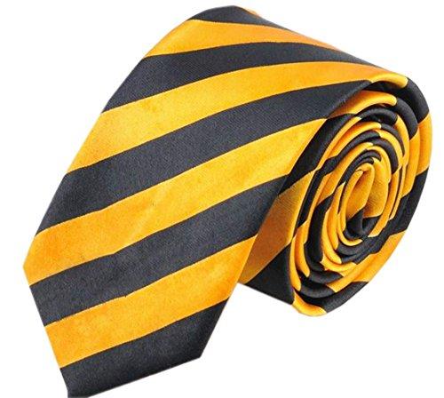Hello Tie Unisex Black & Yellow Striped 2