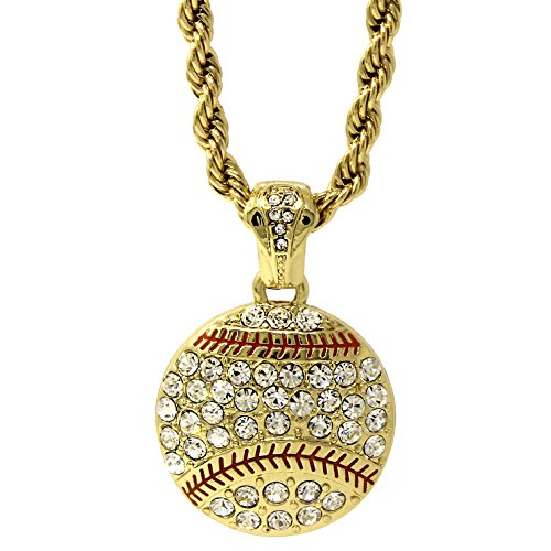 Jewel Town Mens Gold Plated Hip-Hop Lucky Baseball Cz Pendant 24