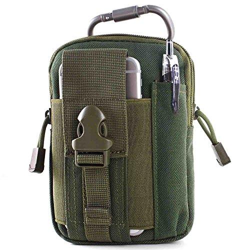 Unigear Taktische Hüfttaschen Molle Tasche Gürteltasche MOLLE Beutel Militär Ideal für Outdoorsport Multifunktionen Praktische Ausrüstung mit Extrafreiem Aluminiumkarabiner (Dunkelgrün)