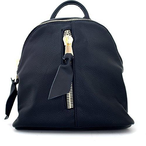 Tom & Eva 1202 Rhea MD Tasche, Rucksack, Backpack in Vegan Leder Schwarz große Gold Zipper für Damen