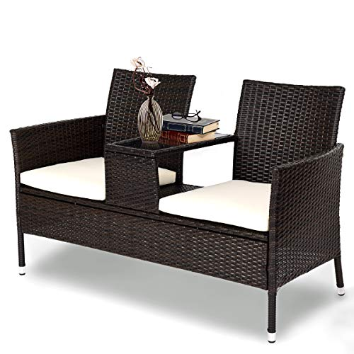Tangkula Outdoor Furniture Set Patio Conversation Set with Removable Cushions & Table Wicker Modern Sofas for Garden Lawn Backyard Outdoor Chat Set (loveseat Style) (And Inexpensive Deck Patio Ideas)