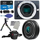 Z Camera E1 Mini 4K Interchangeable Lens WiFi Enabled Camera Kit + Panasonic LUMIX G 14mm f/2.5 ASPH II Lens + Lexar 64GB Memory Card + Polaroid Snap and Wrap Tripod + Polaroid Bag + Accessory Bundle