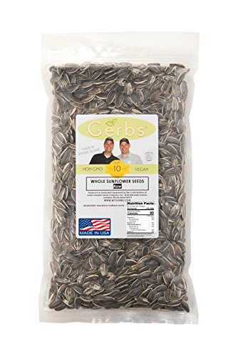 Sunflower Seeds In-Shell Raw by Gerbs - 4 LBS Premium Domestic Grade Sunflower - Top 10 Food Allergen Free - Vegan & Kosher - Seed Country of Origin USA - Made in Rhode Island